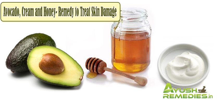 Avocado,Cream and Honey-Remedy to Treat Skin Damage