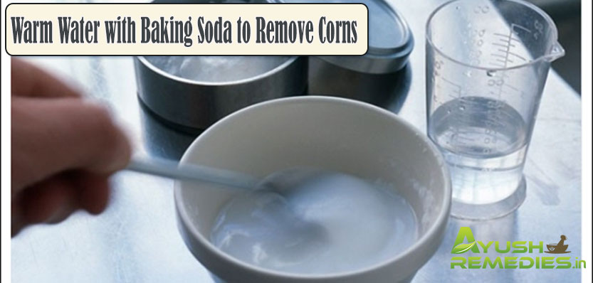 Warm Water with Baking Soda to Remove Corns